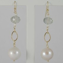 Yellow Gold Earrings 750 18k Pendants 6 CM, Prasiolite Cushion Cut and Pearls image 1