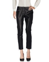 New Mix Media Black Suede & Leather Women's Soft Skin Leather Cropped Pants