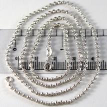 White Gold Chain Choker 750 18k, 40 CM, FACETED BALLS, 2 mm diameter image 1