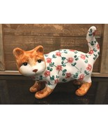 "Bella Casa Floral Cat Ceramic Kitty Cat Figurine 9"" x 7"" - $26.99"