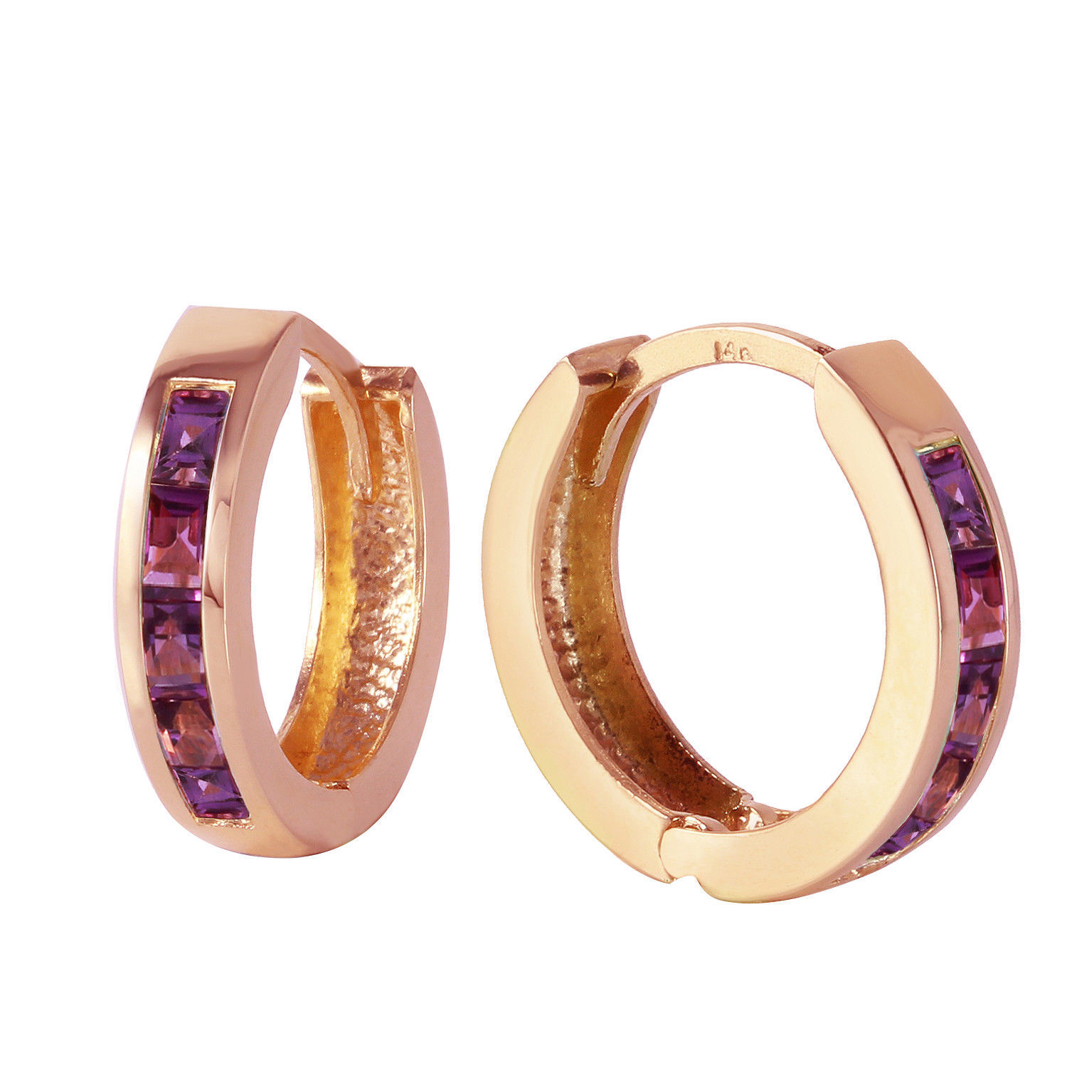 Primary image for 0.85 Carat 14K Solid Rose Gold Hoop Huggie Earrings Purple Amethyst