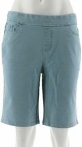 Denim & Co Smooth Waist Pull-On 5-Pocket Shorts Bleach Wash 8 NEW A307035 - $12.84