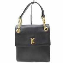 Paloma Picasso Vintage Black Gold Leather Squared Handbag Purse Bag 3564-B - $101.82
