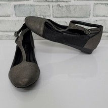 Lucky Brand Fintleyy Womens 7.5 Ballet Flat Pewter Black Leather T-Strap  - $23.36