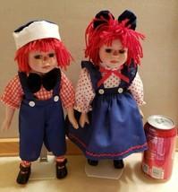 "Raggedy Ann and Andy 13"" Porcelain Dolls Children Dolls Dressed as Ann a... - $39.99"
