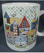 Birdhouse Patchwork Coffee Mug 12oz Ceramic Sherri Buck Baldwin 1996 Lan... - $17.97
