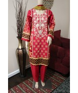 Pakistani  Red Printed Straight Shirt 3-PC Lawn Suit w/ Threadwork,small - $54.45