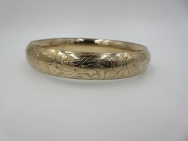A.A.G. 1/10 Gold Victorian Etched Bangle Bracelet AA Green & Co Hinged - $123.75