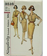 Vintage 1960s Simplicity Sewing Pattern 3516 Misses Skirt Blouse Size 12... - $16.19