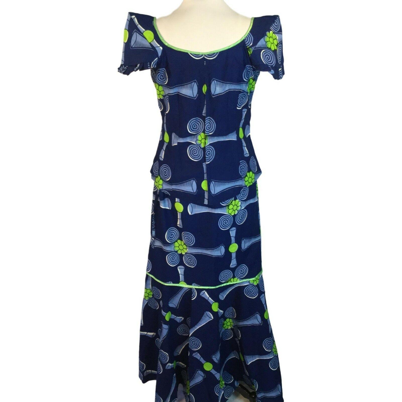 Traditional African Mermaid Drawstring Waist Skirt Top Boho Vibrant Print M / L