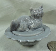 Cat on Nest Salt Dip Dove Grey Glass Mosser - $16.82