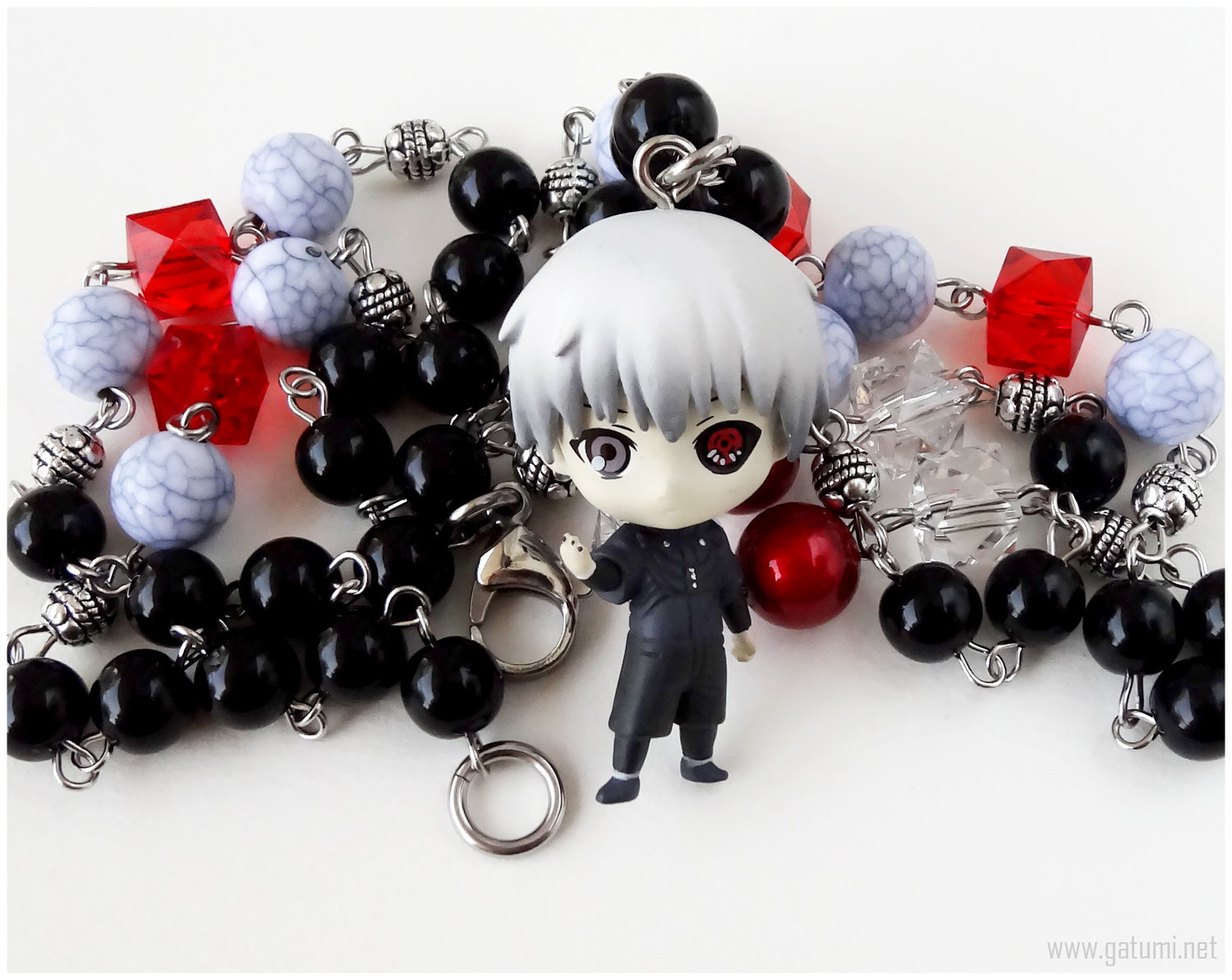Primary image for Gothic Lolita Necklace, Black, Red, Gray, Beaded Rosary Chain, Anime
