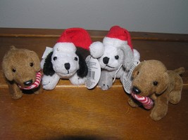 Lot of 4 Gray Black & White & Brown Weiner Puppy Dog Plush Christmas Tre... - $12.19