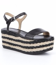 MICHAEL Michael Kors Nantucket Mid Wedge Sandals, Black Leather Multip S... - $99.95