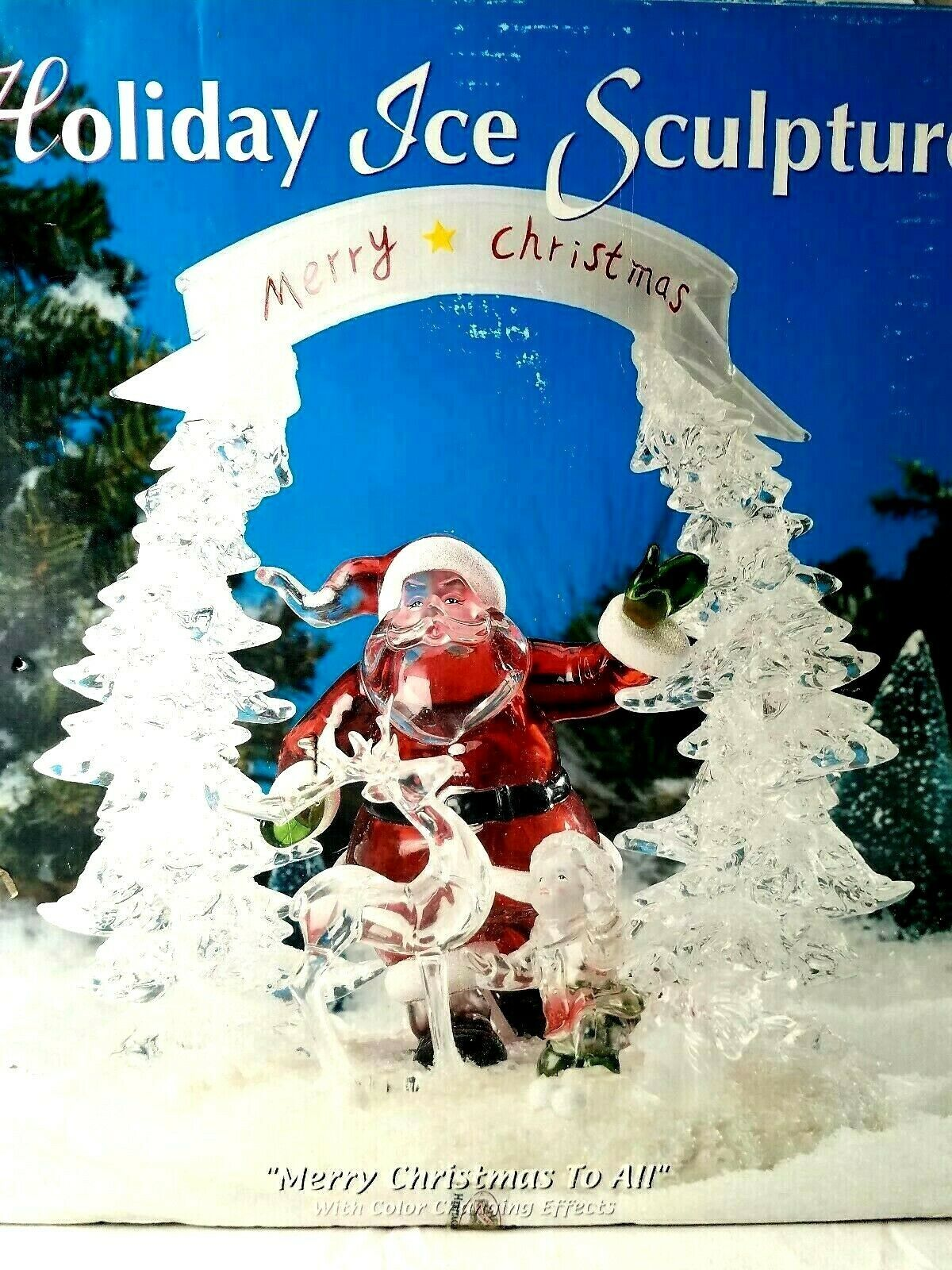 Primary image for Heritage Mint Santa Ice Sculpture Color Changing Effect Merry Christmas To All