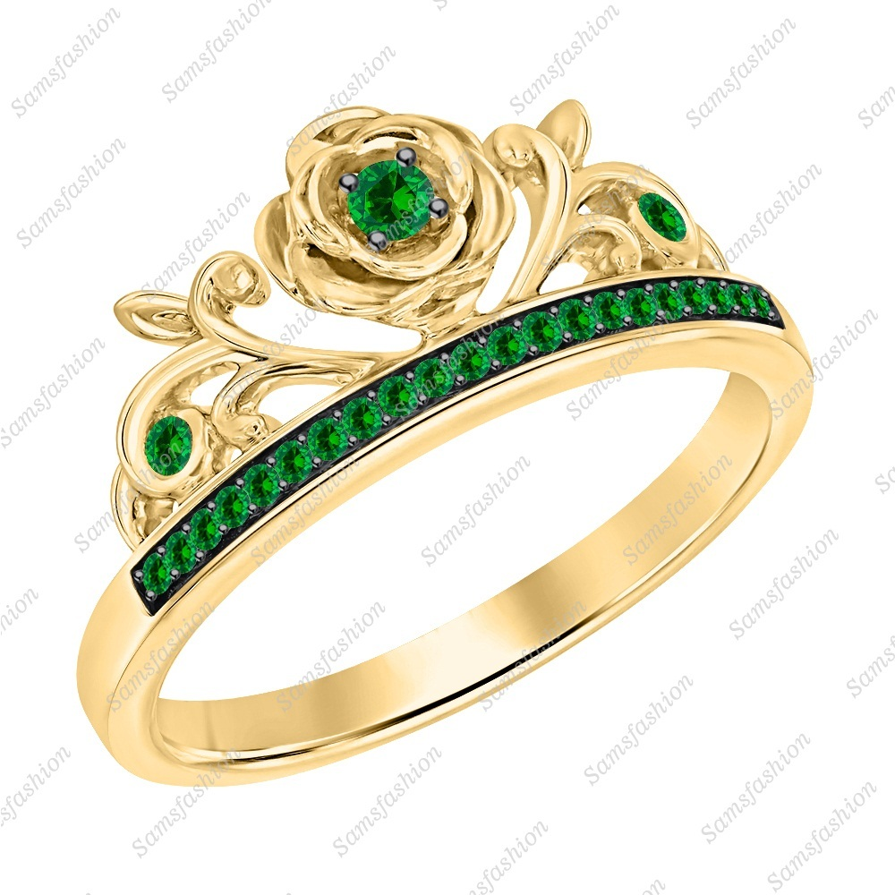 Primary image for Round Cut Green Emerald 14k Yellow Gold Over 925 Silver Rose Flower Promise Ring