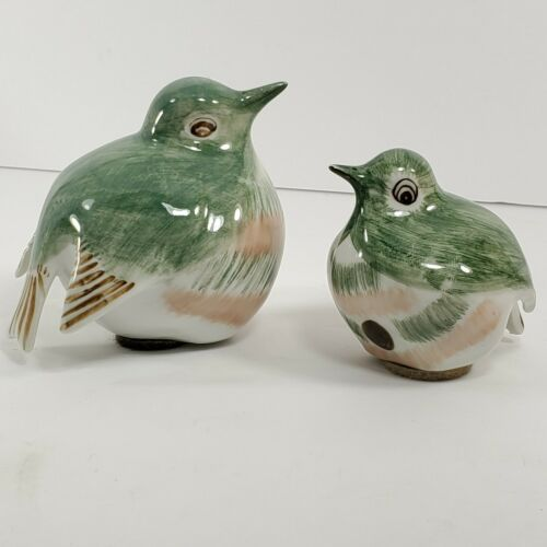 Primary image for  Ceramic Birds Lot Hand Painted In Thailand Green White Figures (bc)