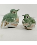 Ceramic Birds Lot Hand Painted In Thailand Green White Figures (bc) - $21.78