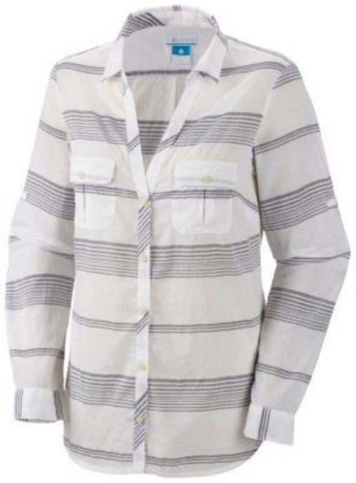 Small Columbia Women's Shirt PFG Sun Drifter Long Sleeve Grey Stripe