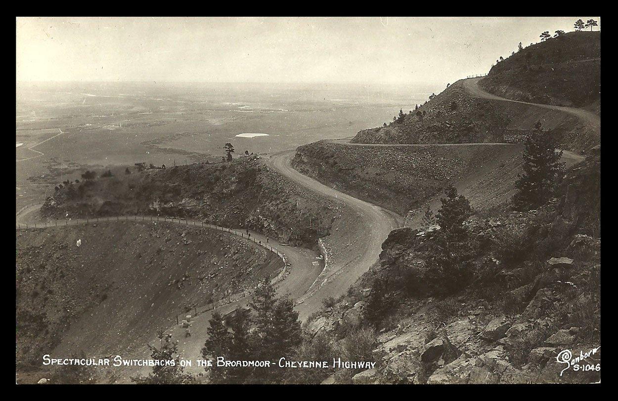 Switchbacks Broadmoor Real Photo Postcard Colorado Cheyenne Highway CO RPPC