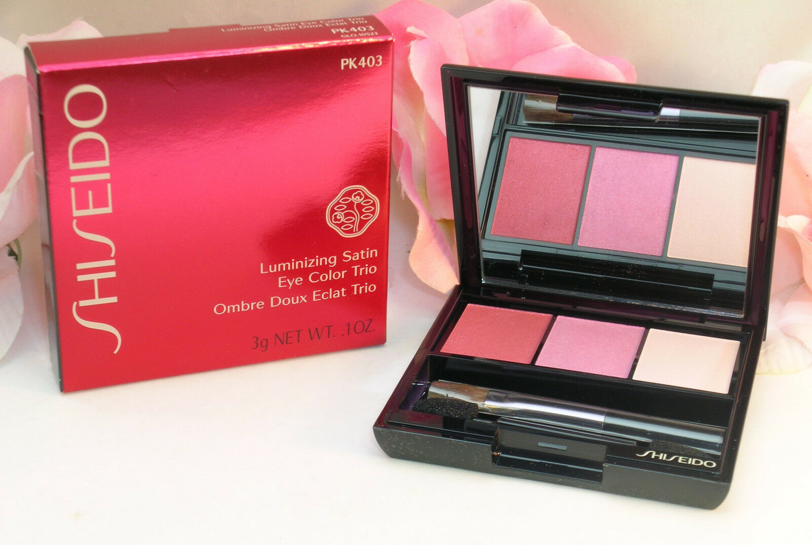 Primary image for New Shiseido Luminizing Satin Eye Color Trio PK403 .1oz / 3 g Peach Pink Cream