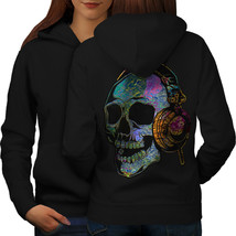 Skull Headphone Music Sweatshirt Hoody Skull DJ Women Hoodie Back - $21.99+