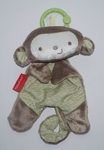 """Fisher Price Monkey Lovey Plush Security Blanket Clip On Rattles 8"""" BGB37 - $9.49"""
