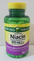 Spring Valley Niacin 500mg Flush-Free Metabolism Support 120 Capsules Ex... - $12.37