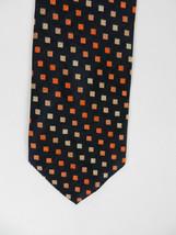 Structure Mens Neck Tie Navy Blue with Orange White Squares Geometric Print - $18.60