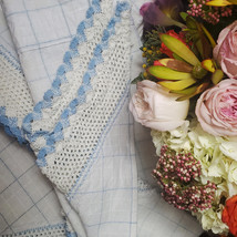 Vintage Blue and White Square Checkered with Crochet Hem Curtains - $44.00