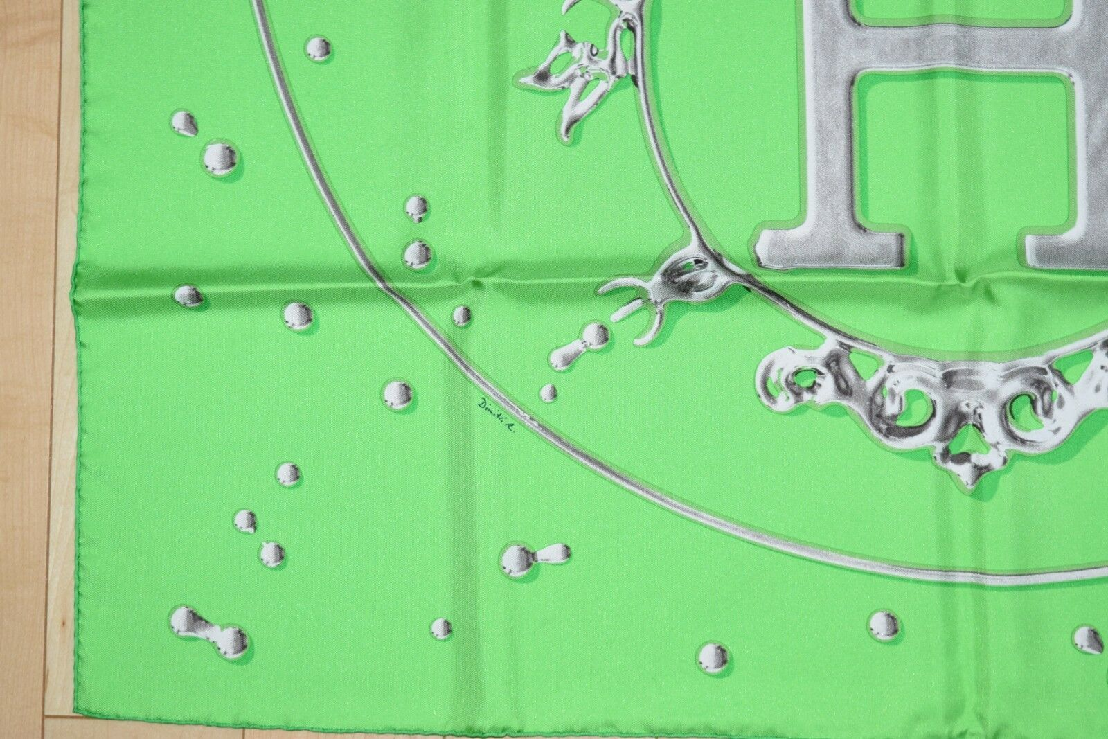 Hermes Scarf Vif Argent by Dimitri Rybaltchenko 90 cm Silk Green Carre Shawl