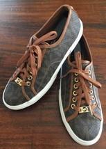 MICHAEL KORS Brown Leather Gold Emblem & Laces Logo City Sneakers Women'... - $40.75