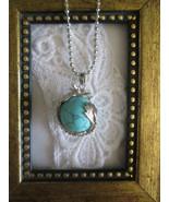 Blue Turquoise Gemstone Sphere & Dragon Silver Tone Ball Chain Pendant N... - $7.60