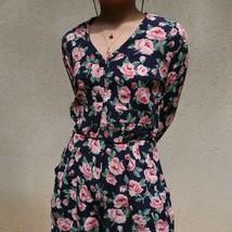 vintage pink roses navy jacket set / blazer top shorts belt / three piec... - $65.00