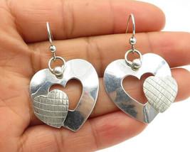 KARNES STINSON 925 Silver - Vintage Shiny Love Heart Dangle Earrings - E... - $31.83