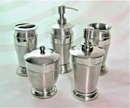 5pc Silver Metal Hobnail Bath Set Soap Pump Cotton Jar Toothbrush Holder... - $49.49