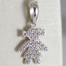 Yellow Gold Pendant, Pink Or White 750 18K, Child, Baby Girl With Zircon, Italy image 4
