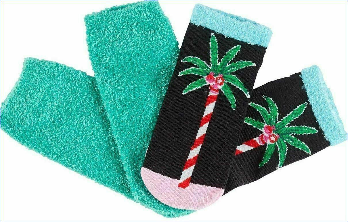 Neuf HUE 2-pack Vacances Noël Palmier Footsie Non Show Souple Chaussettes Cadeau