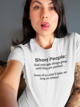 Short People Womens T Shirt Ladies Funny Adult Humor Sarcasm Pun White - $8.99+