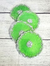 4) HANDCRAFTED RESIN COASTERS CHAMELEON GREEN & SILVER NEW - $36.00