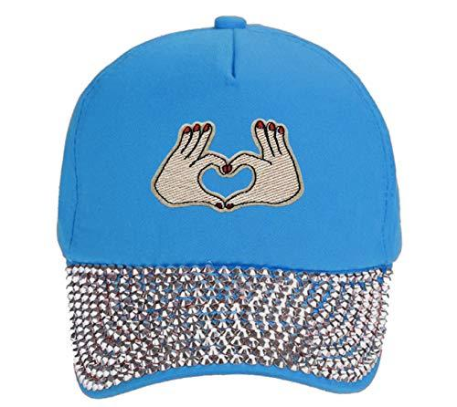 Hand Heart Hat Womens Adjustable Blue Rhinestone Studded Cap