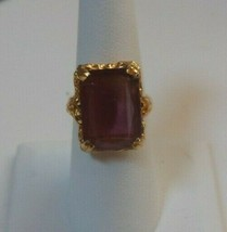Signed Sarah Coventry Purple Stone Adjustable Ring Size 7 - $22.28