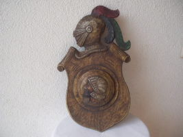 Antique 1900 German black forest carved wood shield medieval knight shop sign image 6
