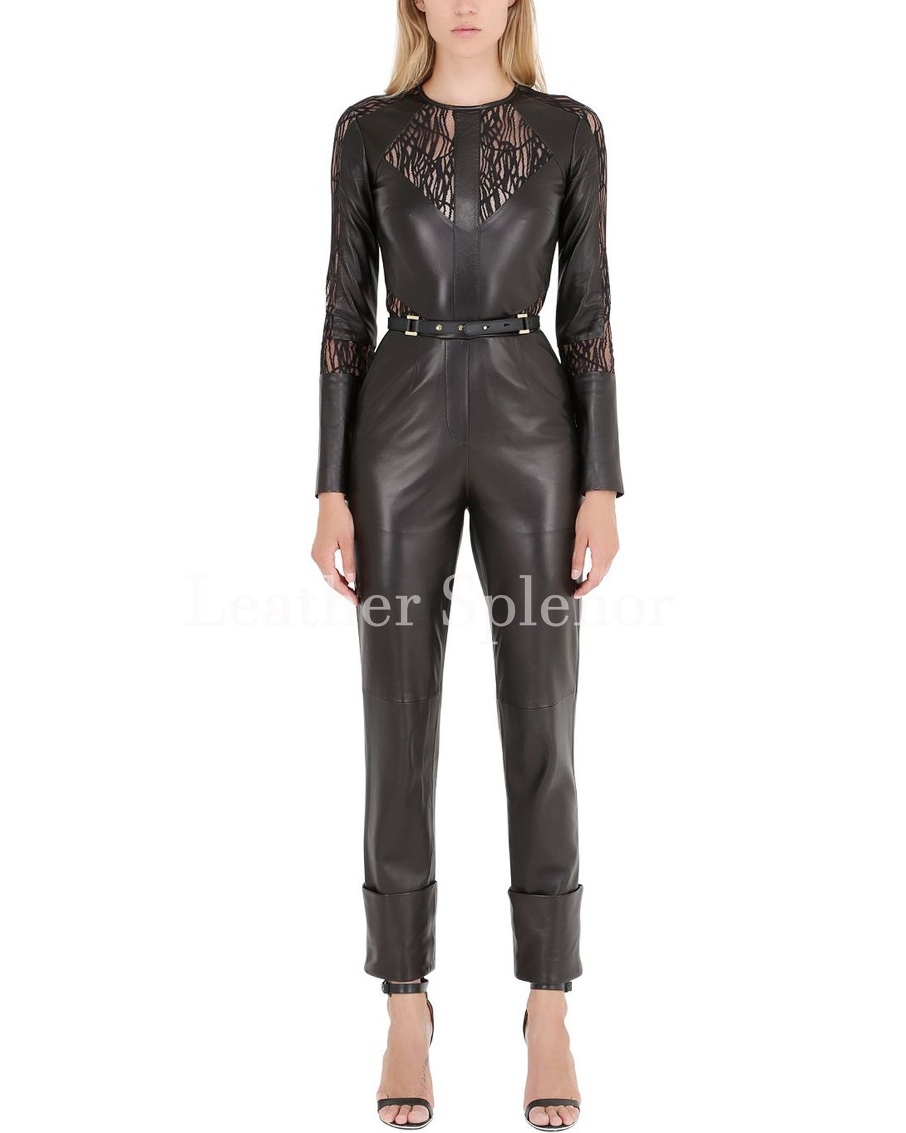 Leather N Lace Trendy Women Leather Jumpsuit