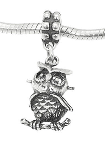 Primary image for STERLING SILVER OWL SITTING ON BRANCH EUROPEAN STYLE DANGLE BEAD