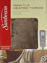 Sunbeam Velvet Soft Plush Heated Throw Blanket Various Colors Size: 50 x... - $59.94