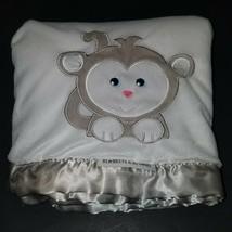 "Blankets & Beyond White Tan Monkey Fleece Baby Blanket Lovey 28""x34"" Sat... - $19.75"