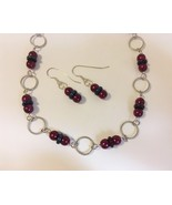 Set necklace earrings plum glass  1  65 thumbtall