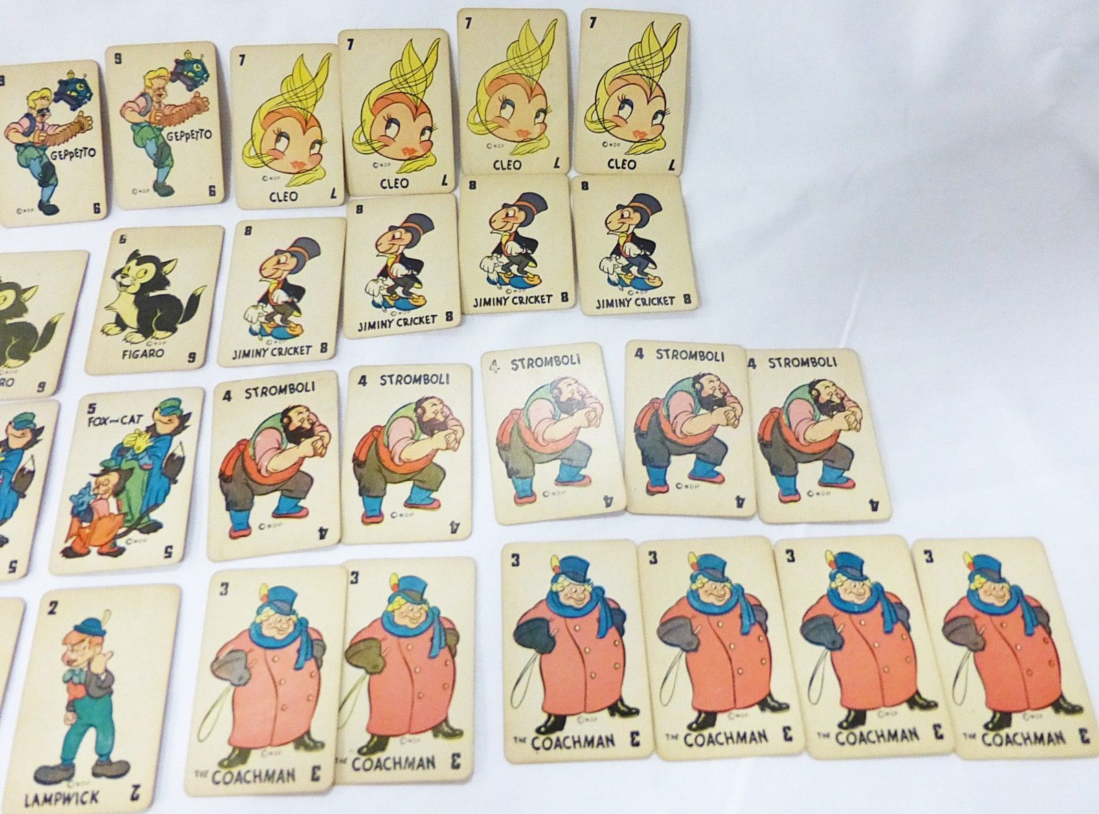 Vintage walt disney pinocchio 1946 game card 47 deck by russell MFG Co