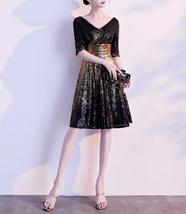 Knee Length Black Gold Sequin Dress Sleeved V Neck Sequin Dress Wedding Dress image 9
